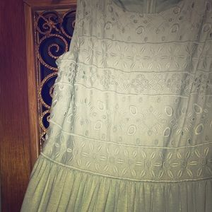 *NWOT* LOFT Mint Green Eyelet Midi Dress Size 10